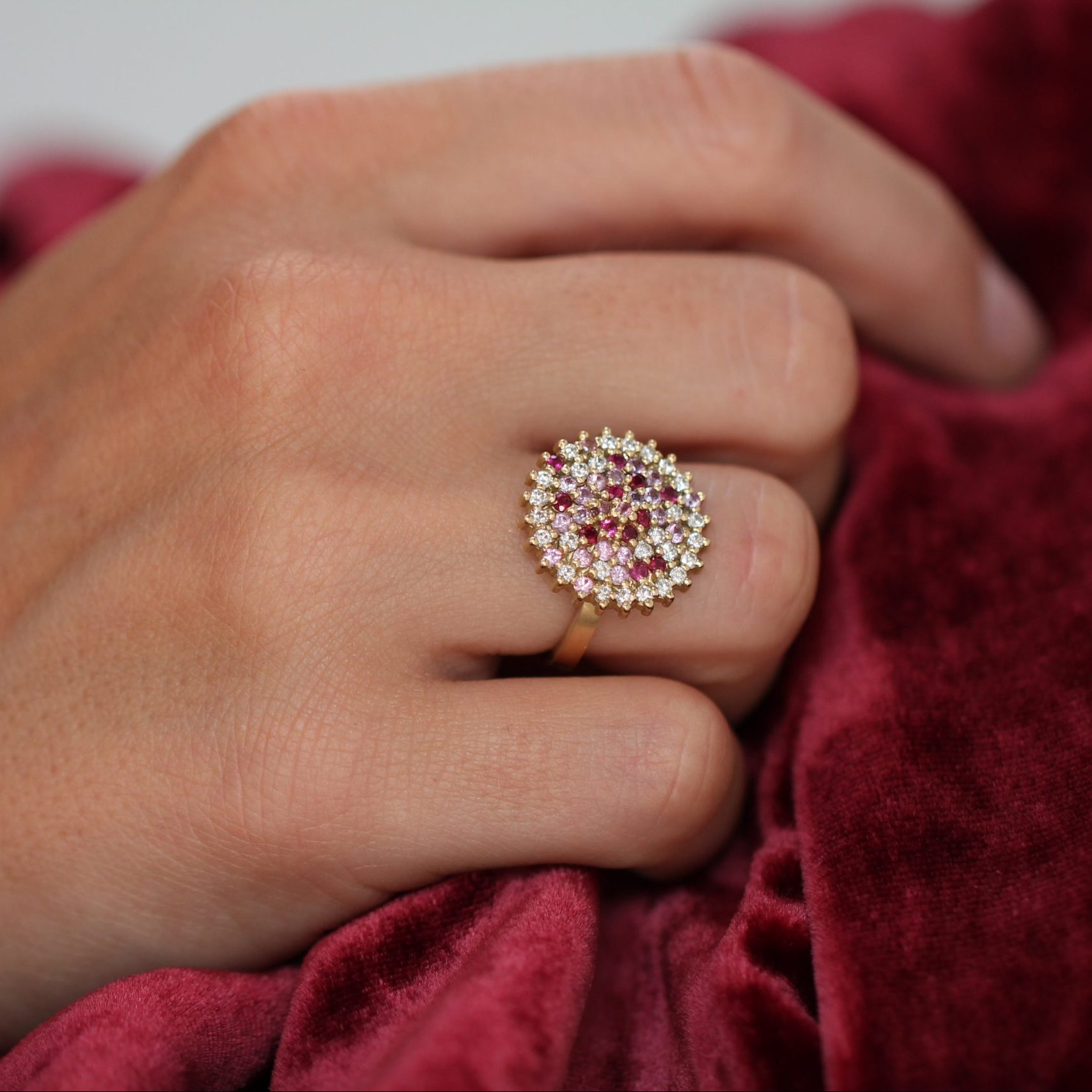 Kathrine Ruby Sapphire and Diamond Cocktail Ring