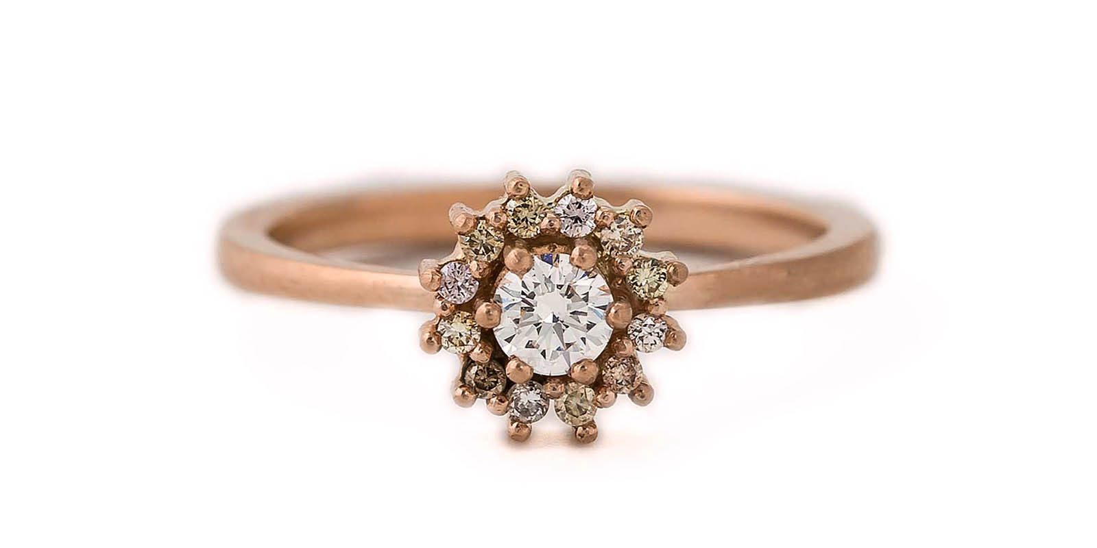 Diamond Halo Ring -18ct Rose Gold