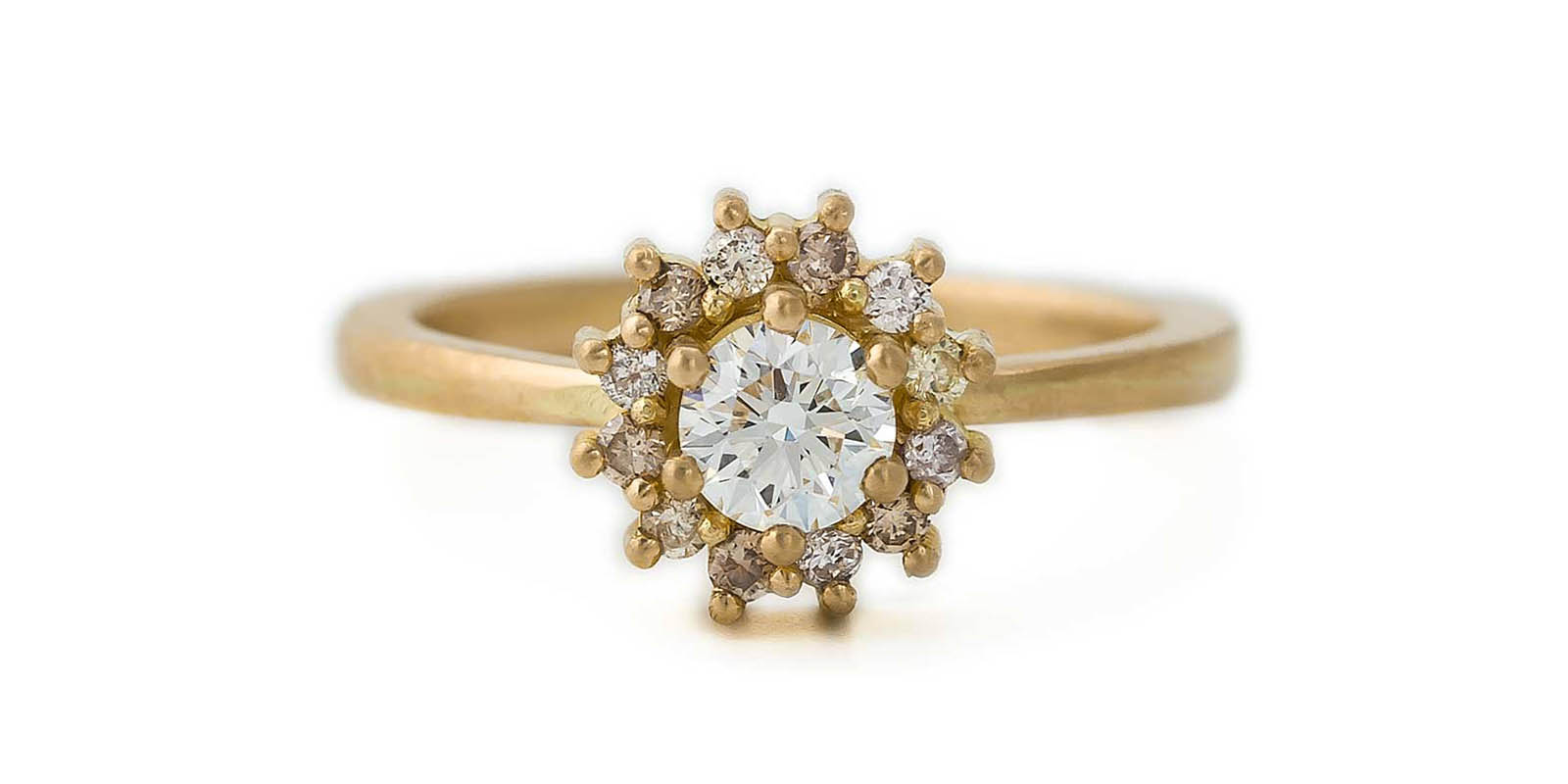 Diamond Halo Ring – 18ct Yellow Gold