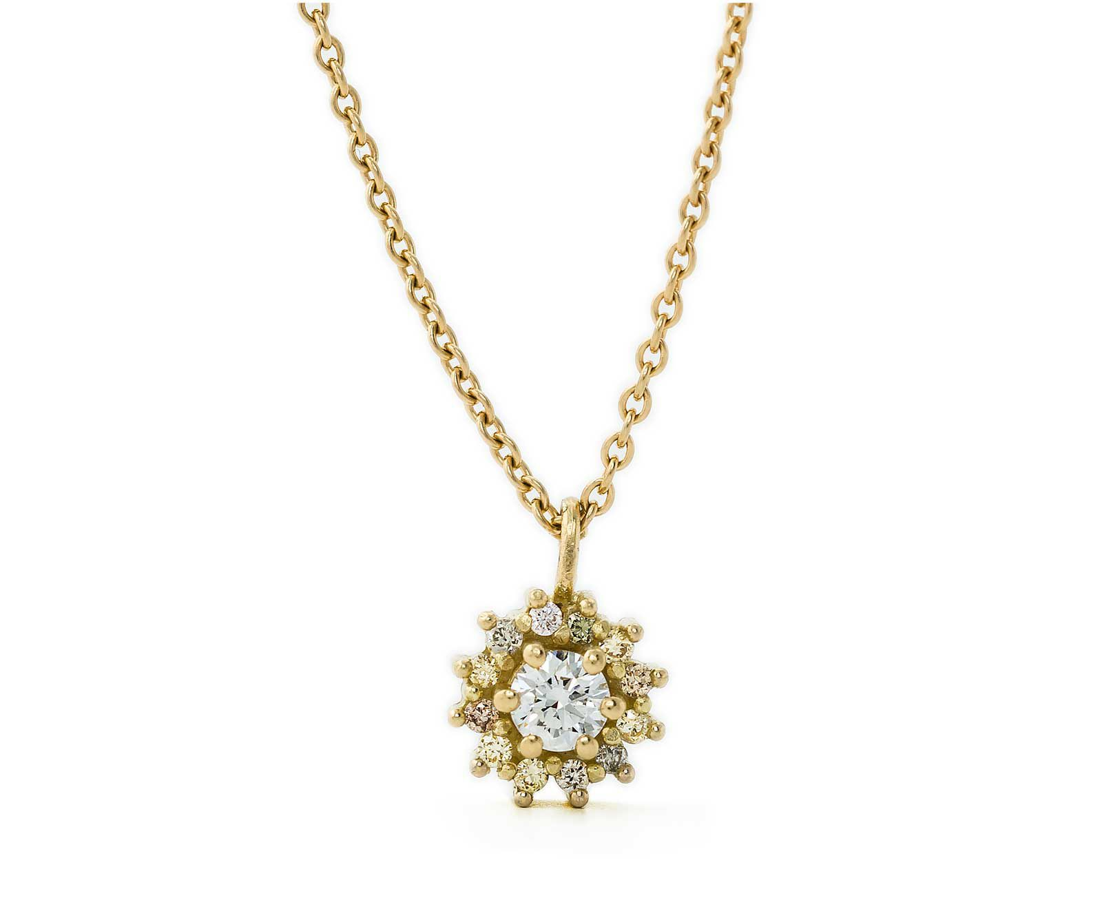 Diamond Halo 18ct Yellow Gold Pendant