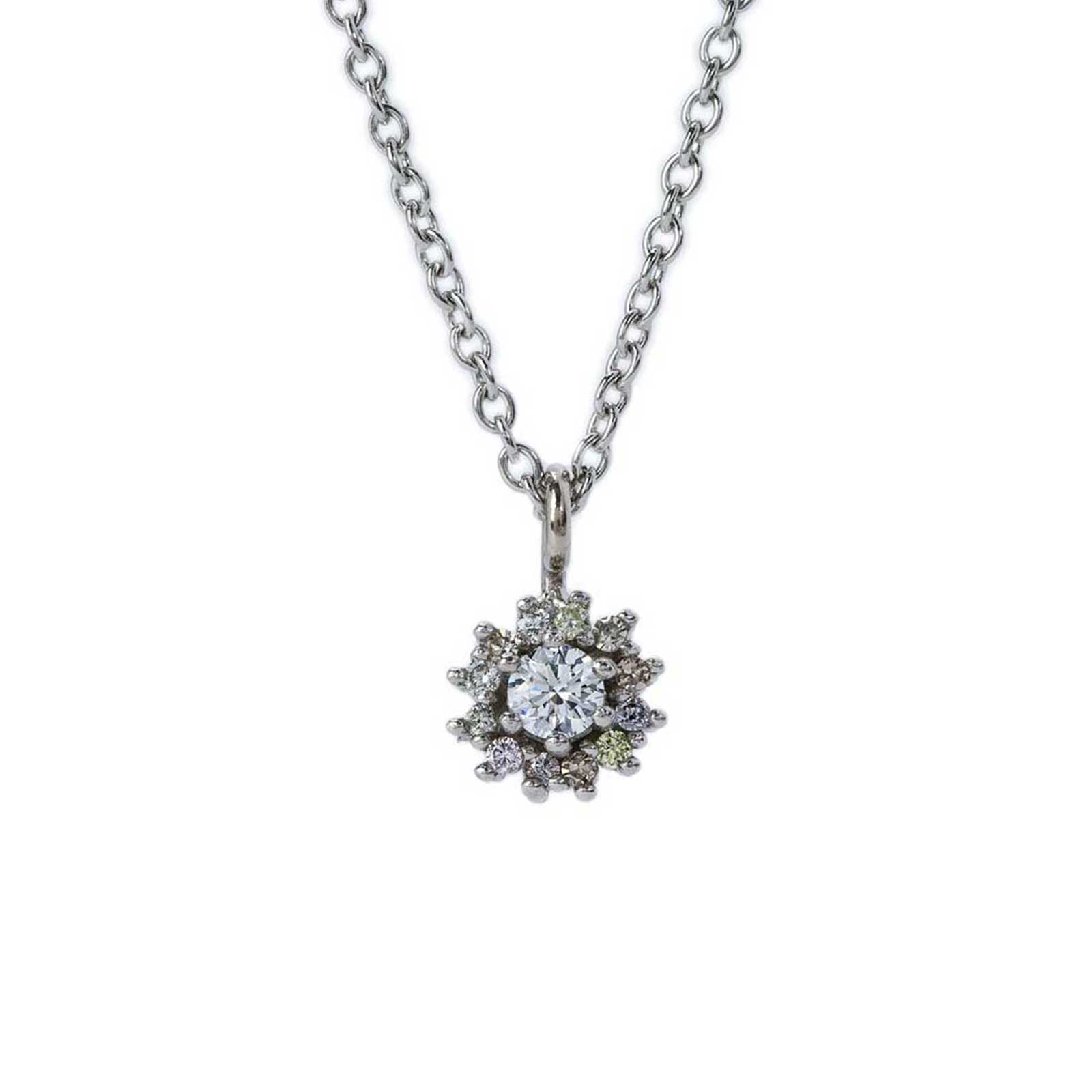 Diamond Halo Platinum Pendant