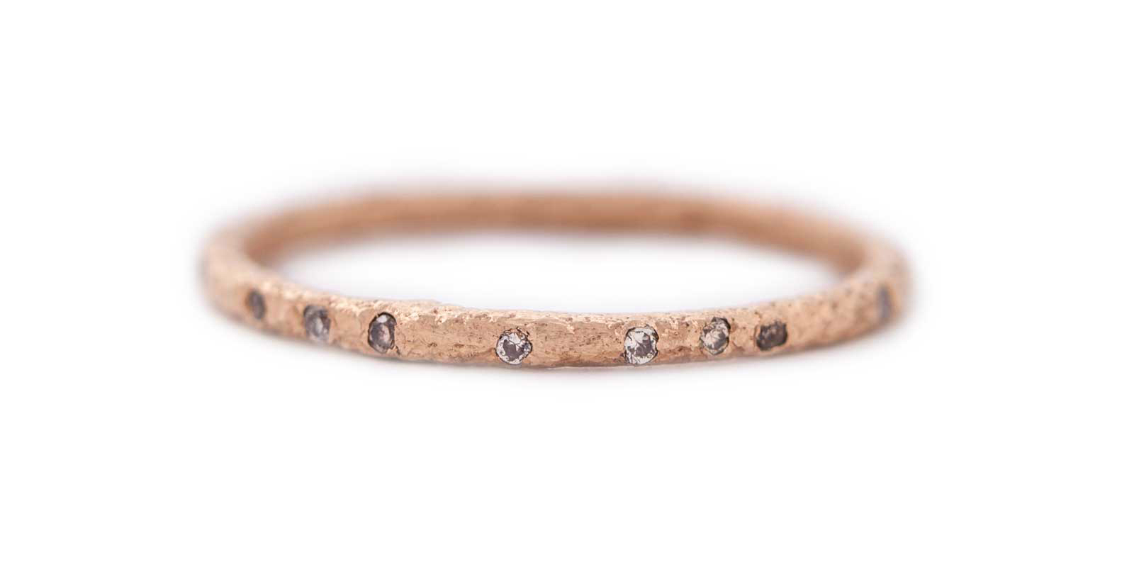 Diamond Scattered Eternity Ring – Champagne Diamond, 18ct Rose Gold