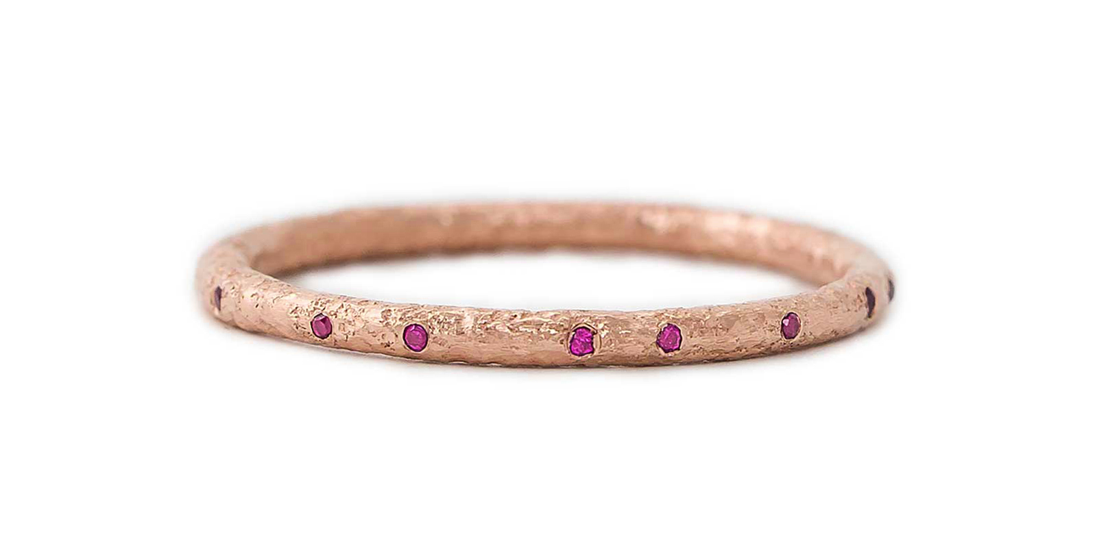Ruby Scattered 18ct Gold Eternity Ring 1.5mm