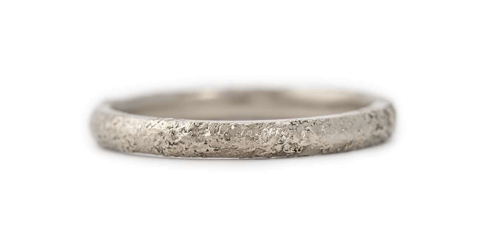 Textured 18ct White Gold Wedding Band 2mm