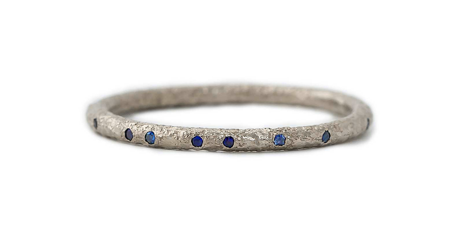 Sapphire Scattered 18ct Gold Eternity Ring 1.5mm