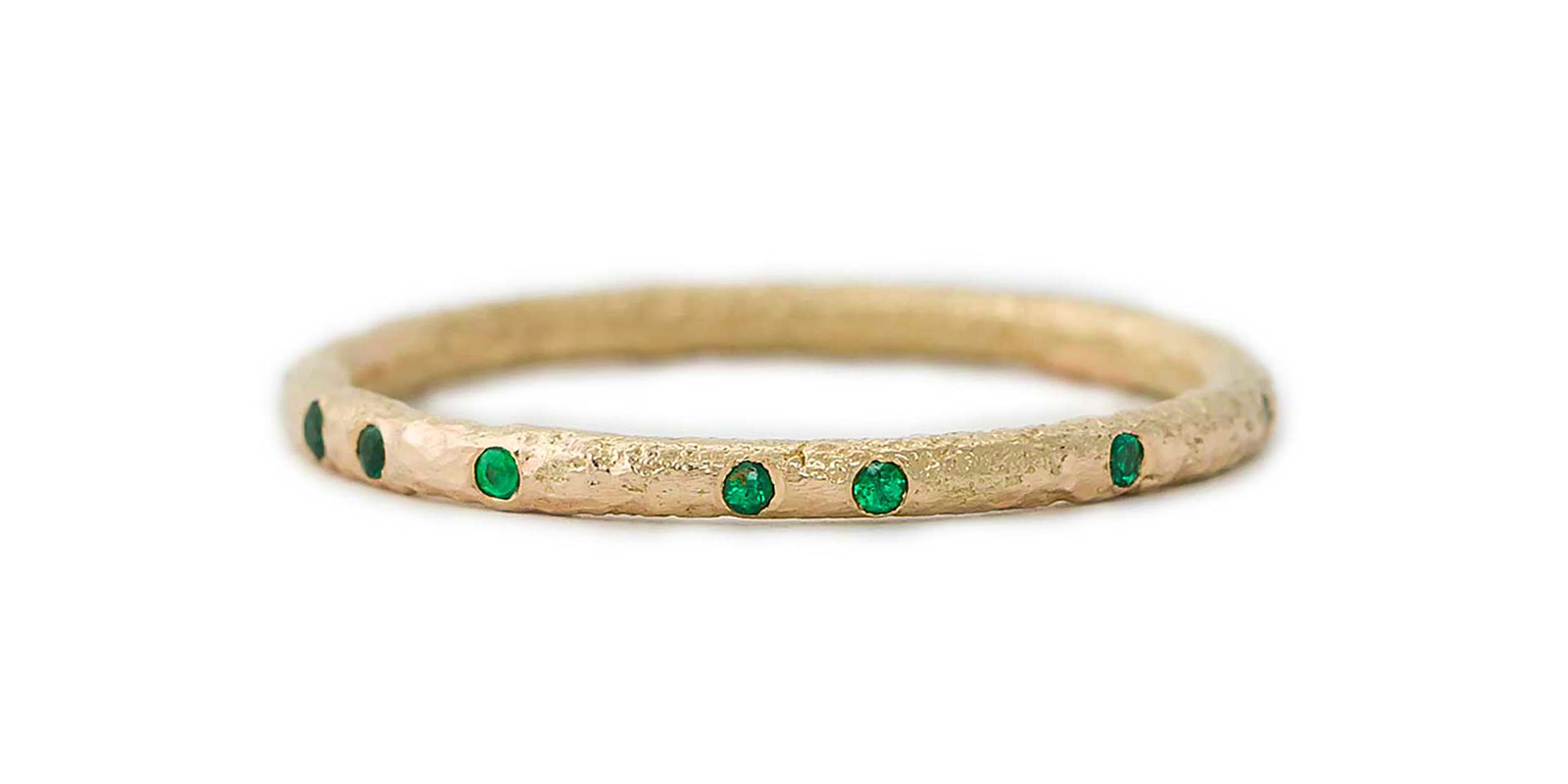 Emerald Scattered 18ct Gold Eternity Ring 1.5mm
