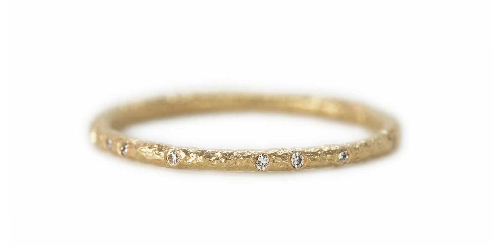 Scattered Eternity Ring – White Diamond, 18ct Yellow Gold