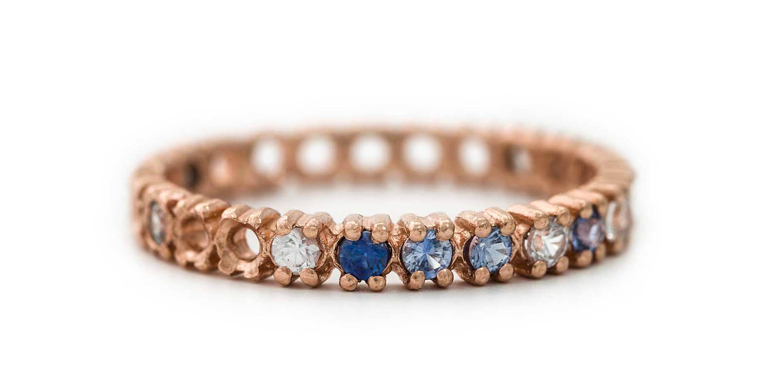 Half Eternity Ring – Blue Sapphire and White Diamond, 18ct Rose Gold