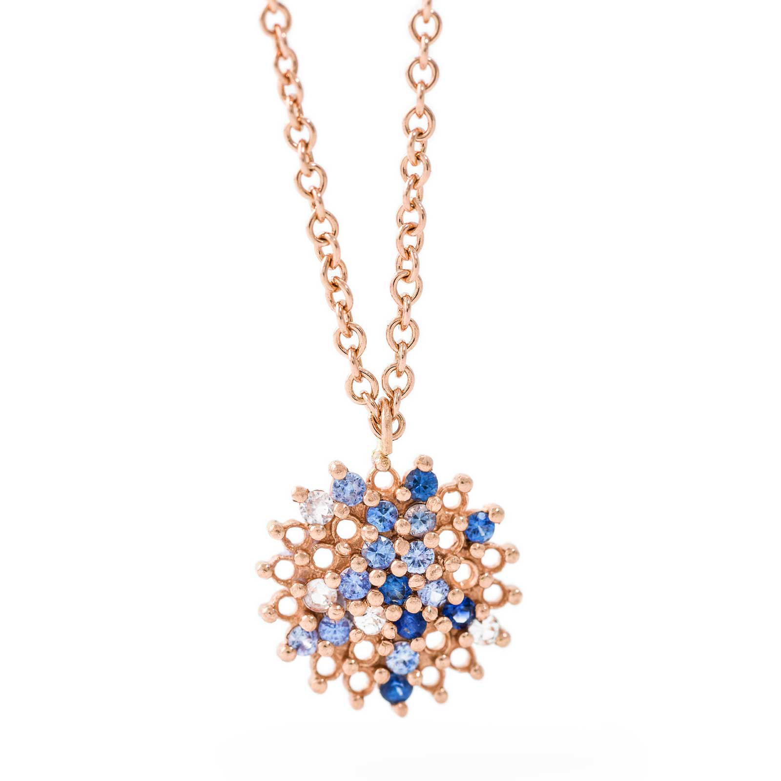 Large Pendant – Blue Sapphire and White Diamond, 18ct Rose Gold