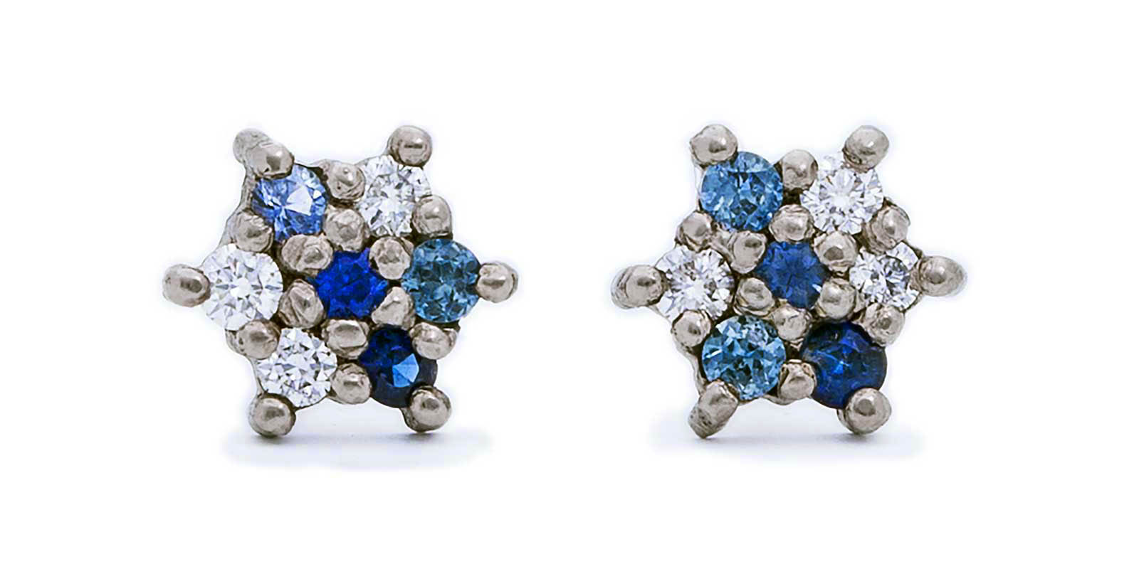 Sapphire and Diamond Star Stud Earrings