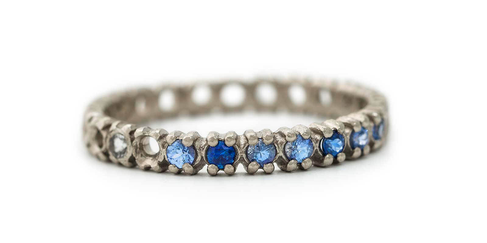 Half Eternity Ring – Blue Sapphire and White Diamond, 18ct White Gold