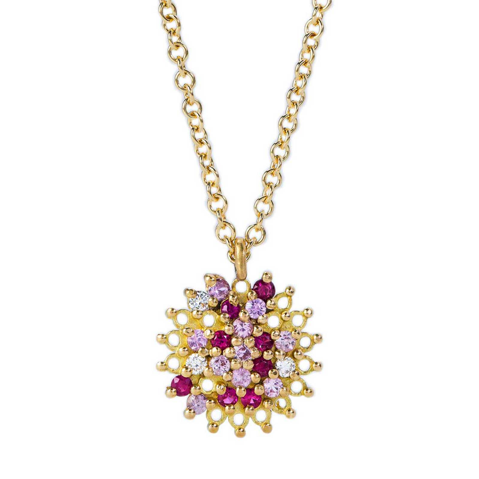 Large Pendant – Ruby, Pink Sapphire and White Diamond, 18ct Yellow Gold
