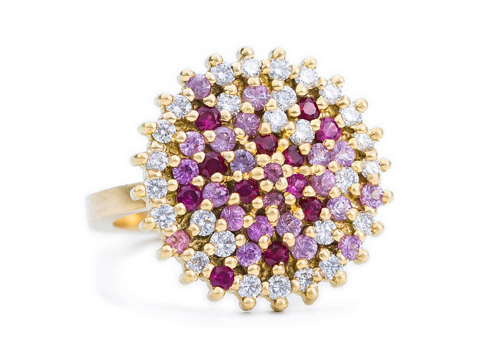 Large Cocktail Ring – Ruby, Pink Sapphire and White Diamond, 18ct Yellow Gold