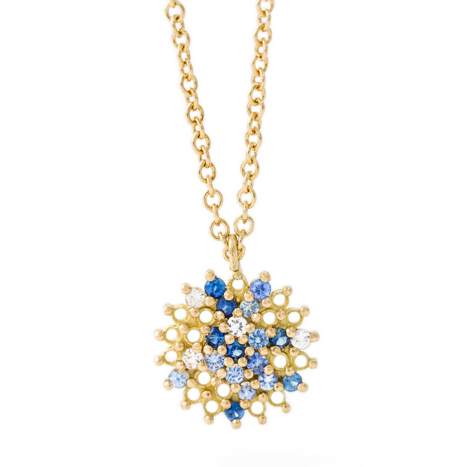 Large Pendant – Blue sapphire and white diamond, 18ct Yellow Gold