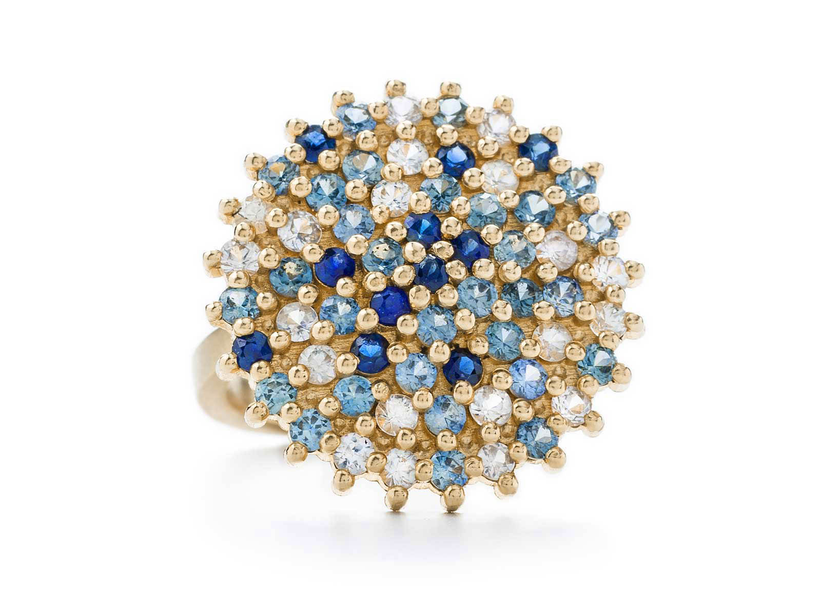 Large Cocktail Ring – Blue Sapphire and White Diamond, 18ct Yellow Gold
