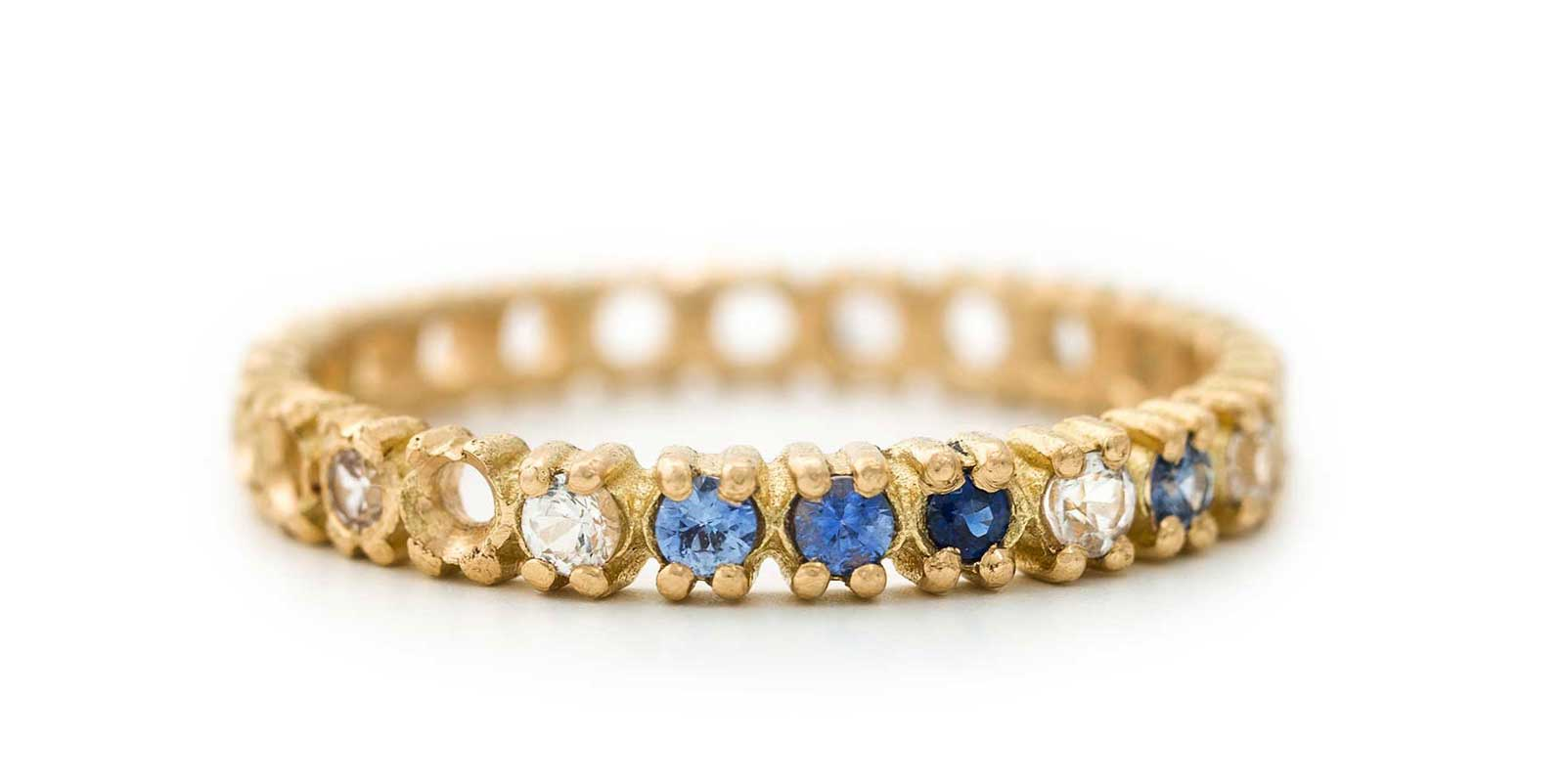 Half Eternity Ring – Blue Sapphire and White Diamond, 18ct Yellow Gold