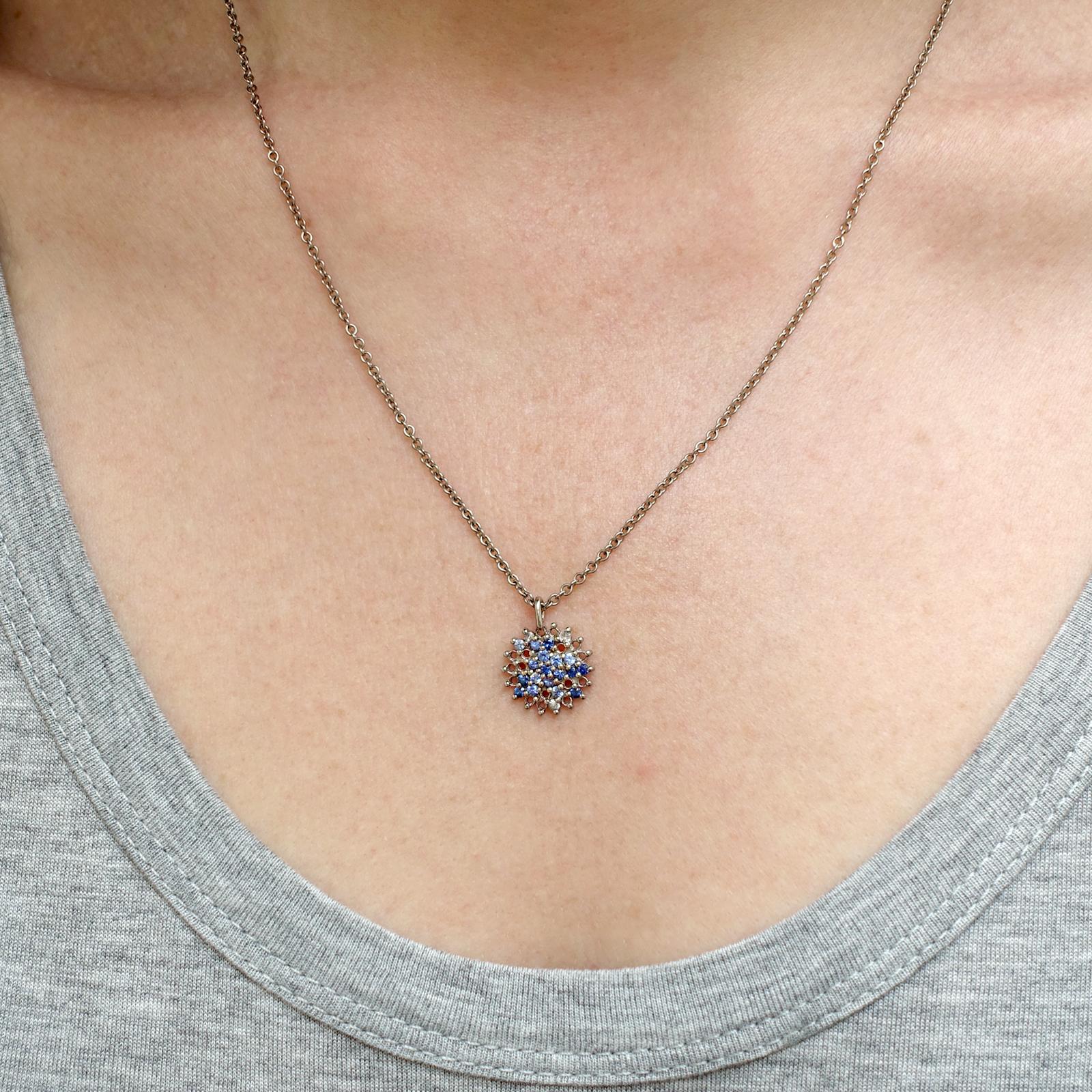 Large Pendant – Blue Sapphire and White Diamond, 18ct White Gold