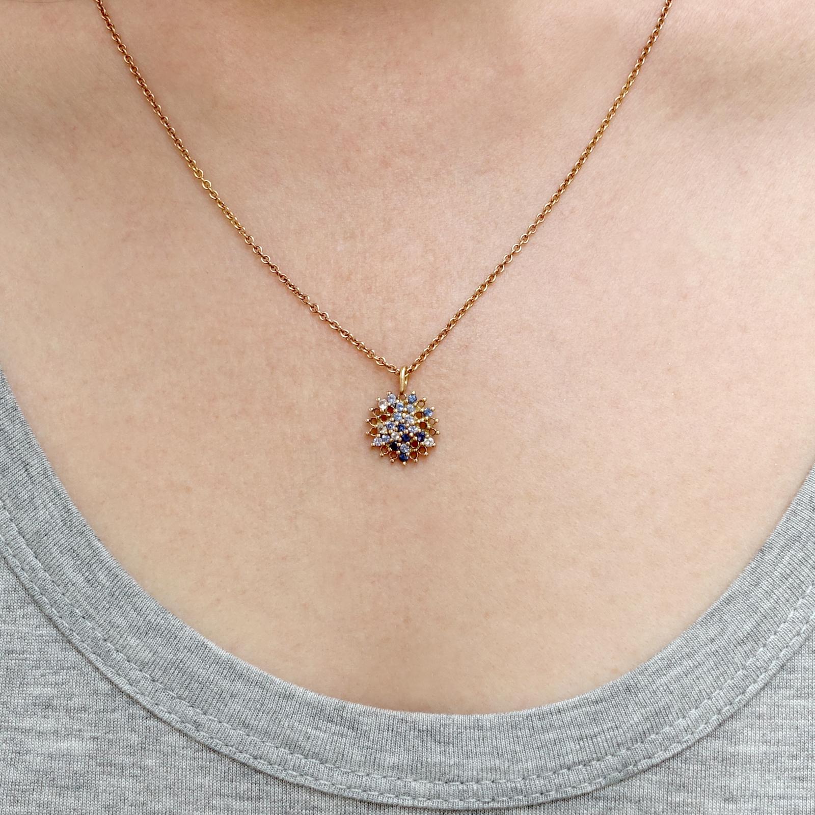 Large Pendant – Blue Sapphire and White Diamond, 18ct Rose Gold