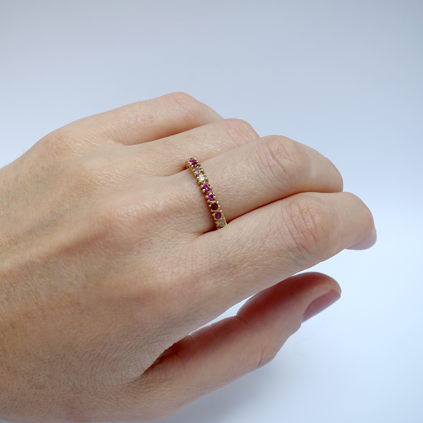 Half Eternity – Ruby, Pink Sapphire and White Diamond, 18ct Yellow Gold