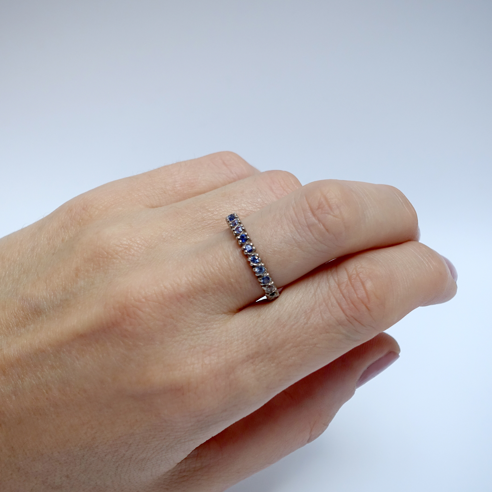 Half Eternity Ring – Blue Sapphire and White Diamond, 18ct White Gold