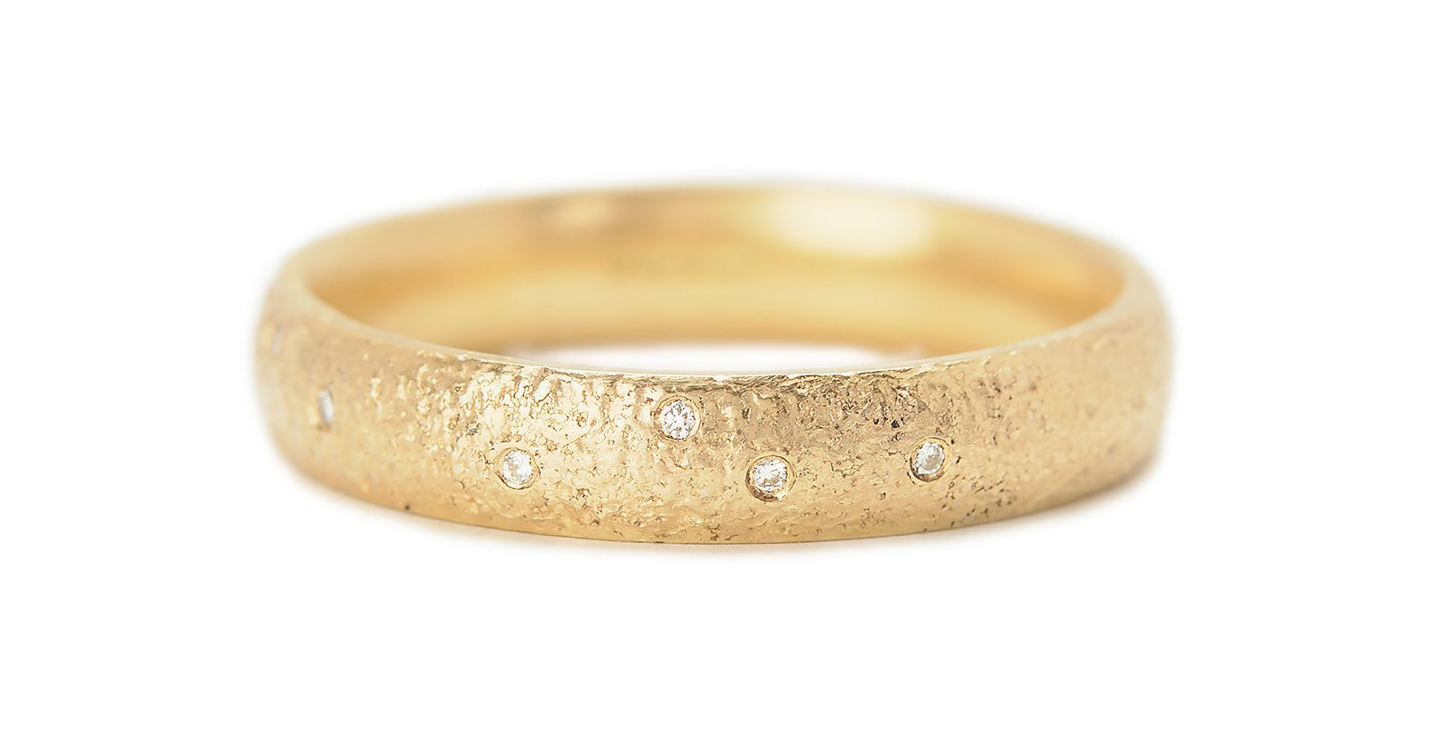Textured Gold, Diamond Scattered Ring