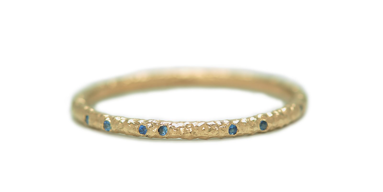 Sapphire Scattered Gold Eternity Ring 1.5mm