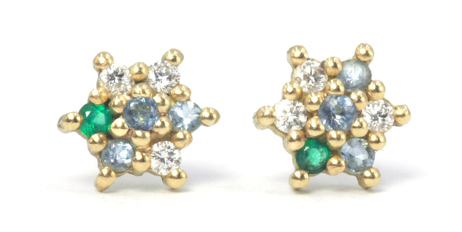 Emerald Aqua and Diamond Star Stud Earrings