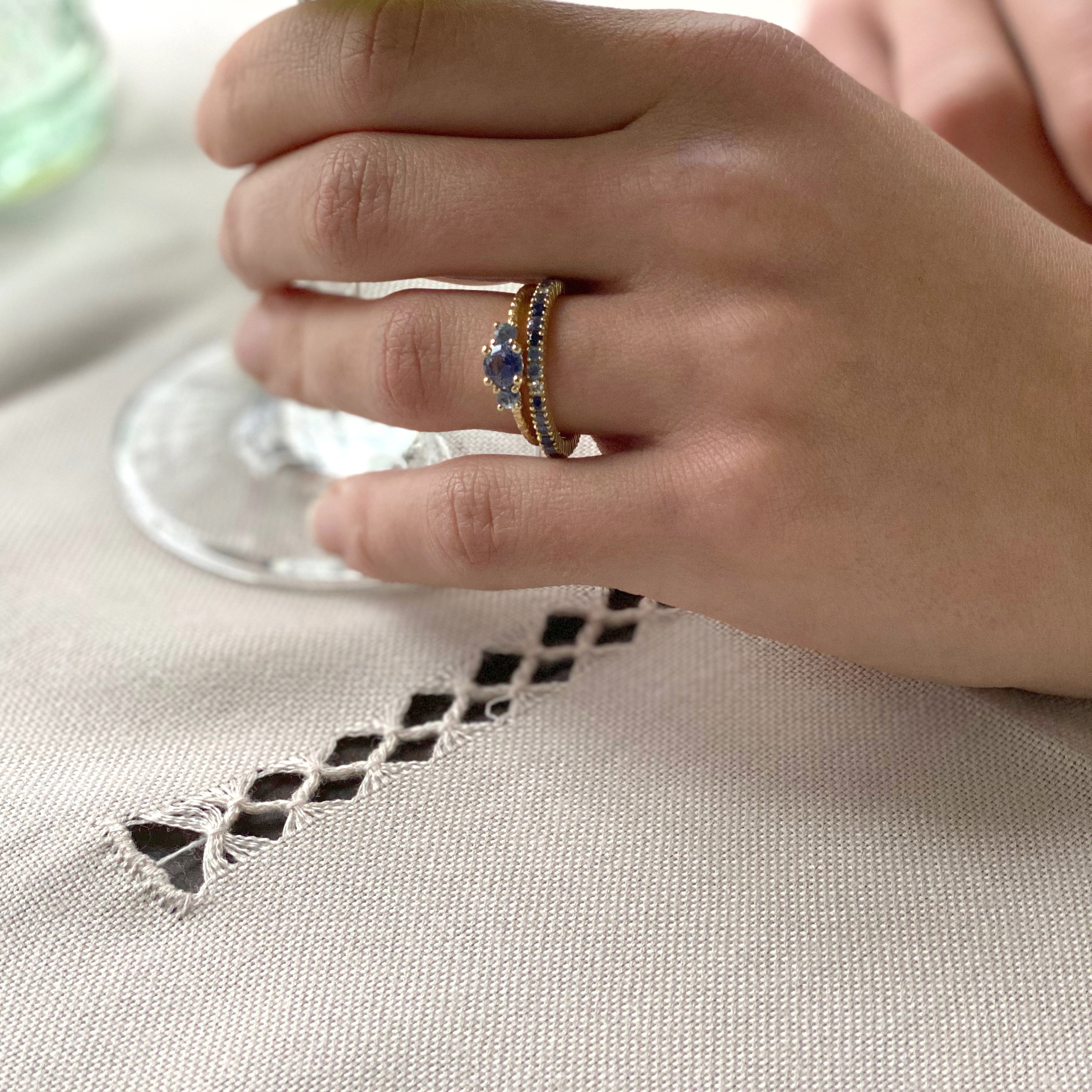 Three Stone Sapphire Remember Ring