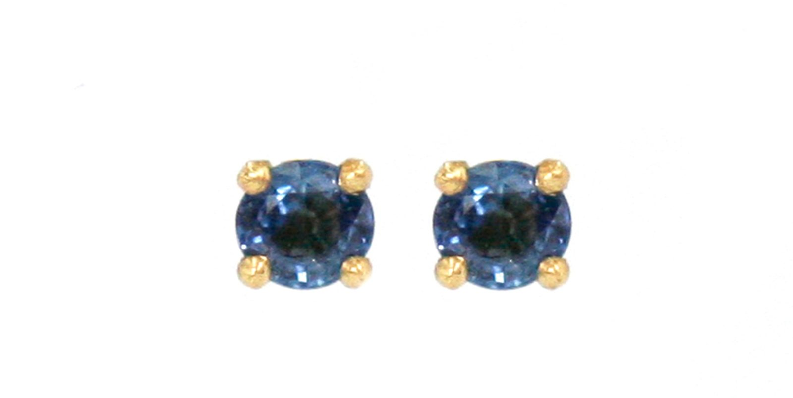 18ct Yellow Gold Blue Sapphire 4 Claw Stud Earrings