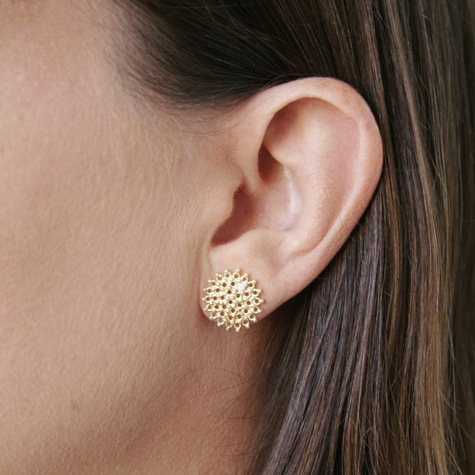 Autumn White Diamond Stud Earrings