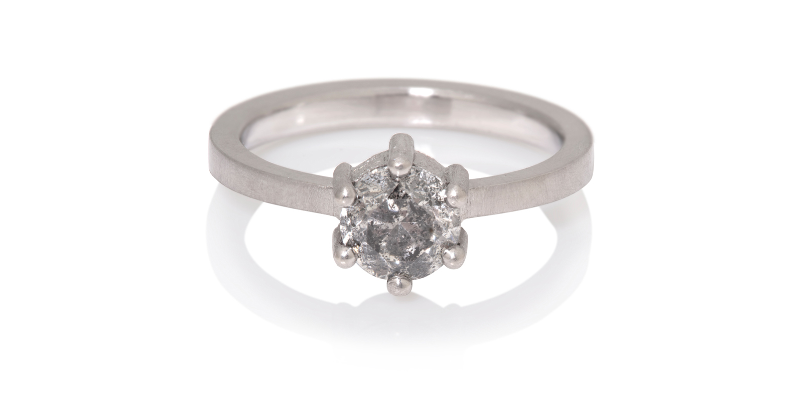 Kiss Salt and Pepper Diamond Engagement Ring .84ct
