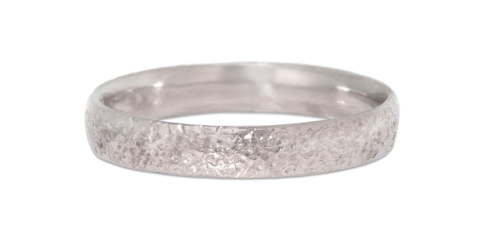 Textured Platinum Wedding Band 4mm
