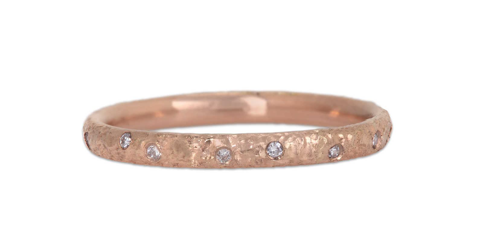 White Diamond Scattered 18ct Rose Gold Eternity Ring 2mm