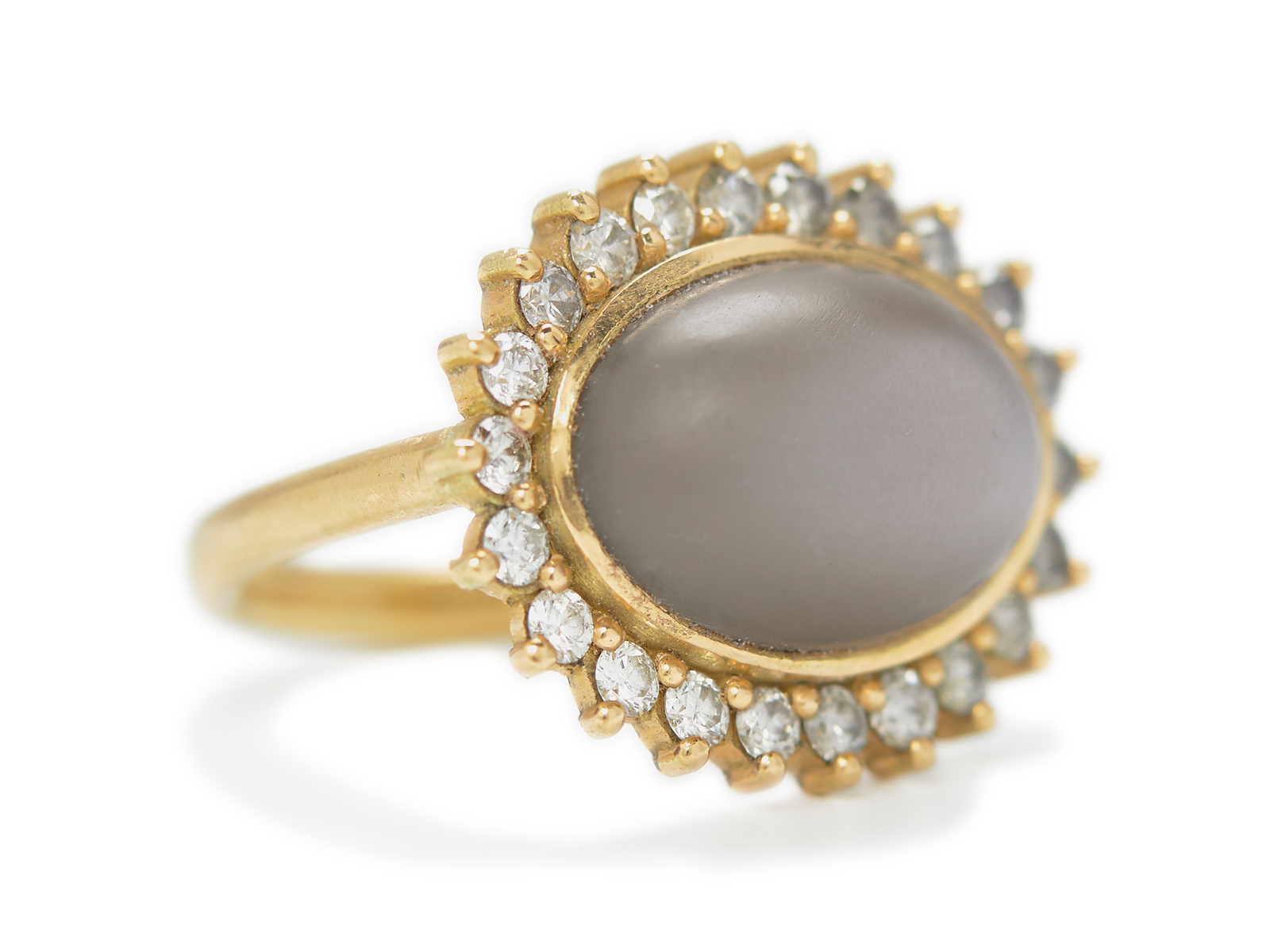 Moonstone and Diamond Halo Cocktail Ring