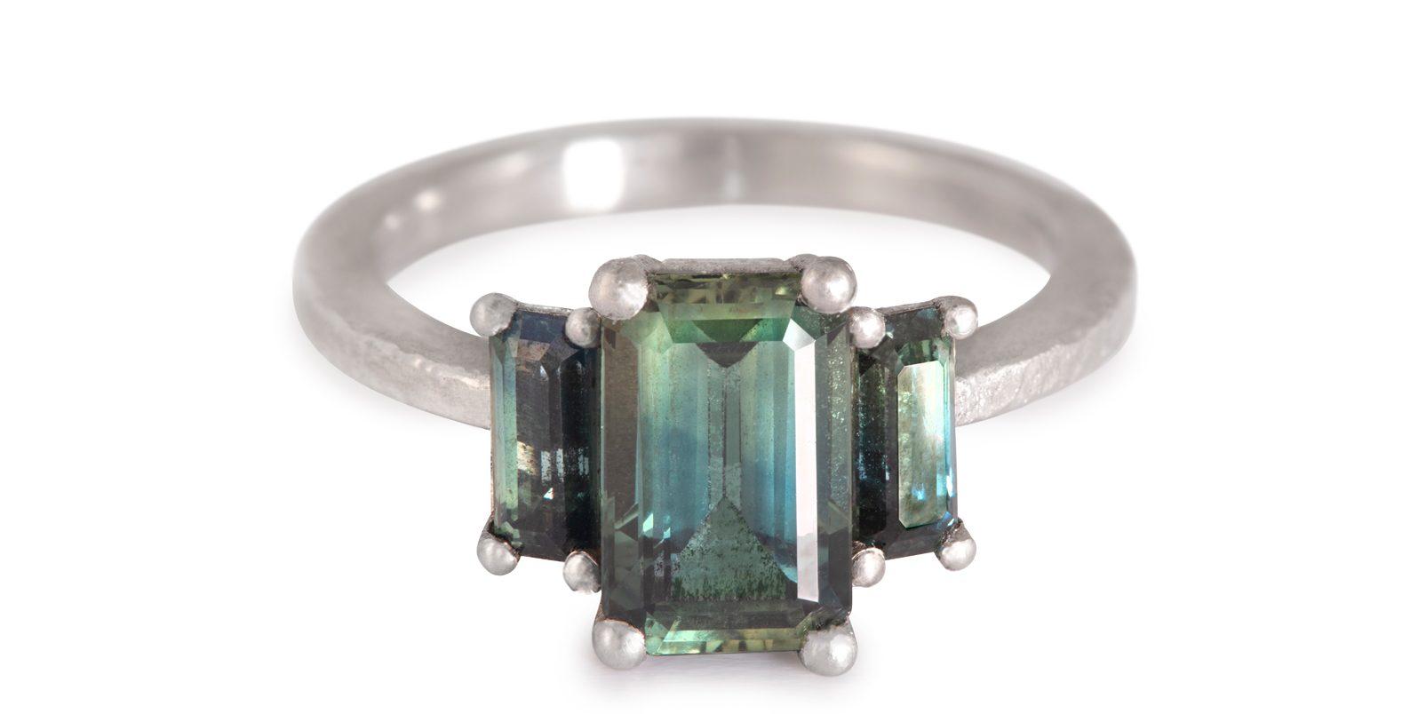 Sarah's Teal Sapphire Ring