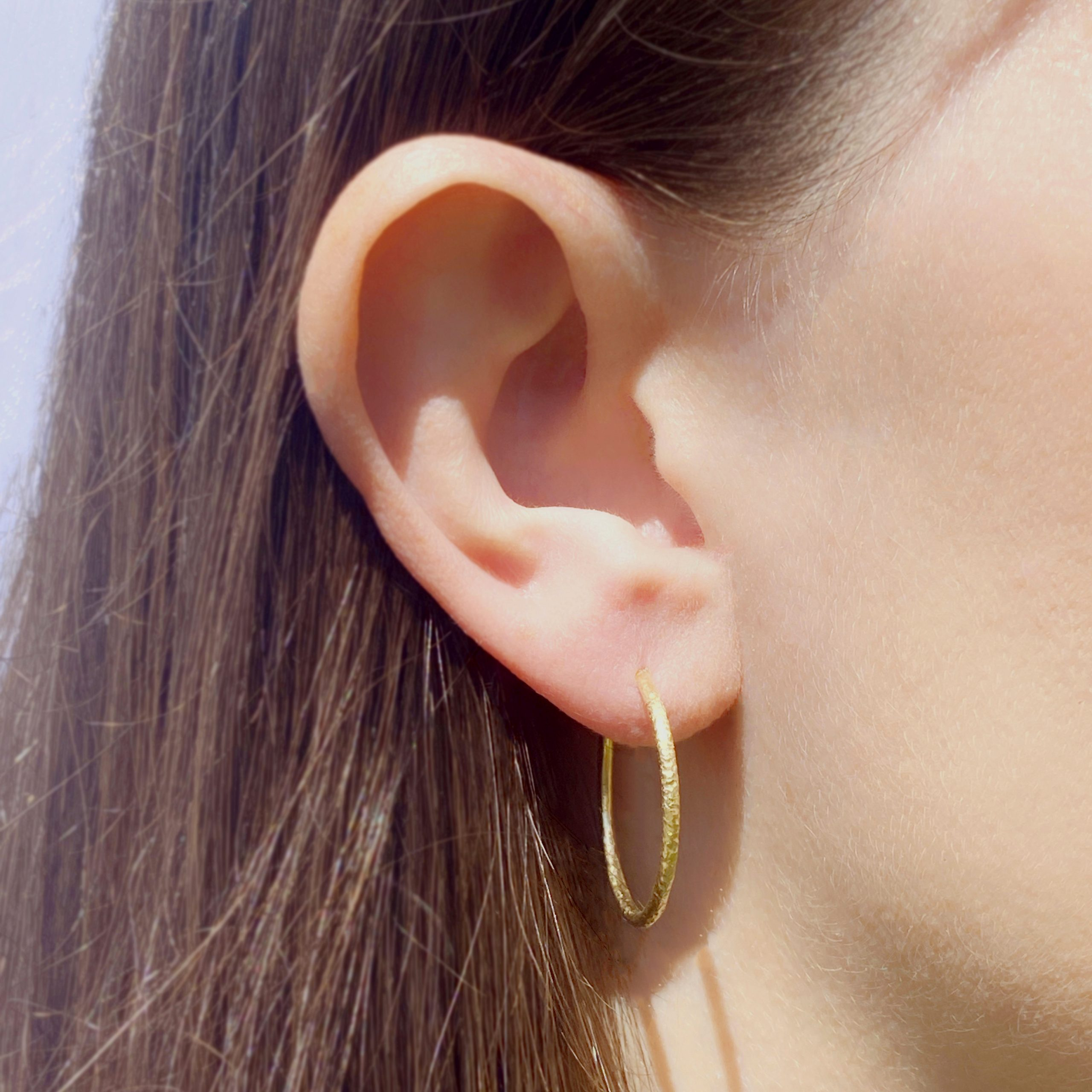 Gaia Textured 18ct Yellow Gold Hoop Earrings 20mm