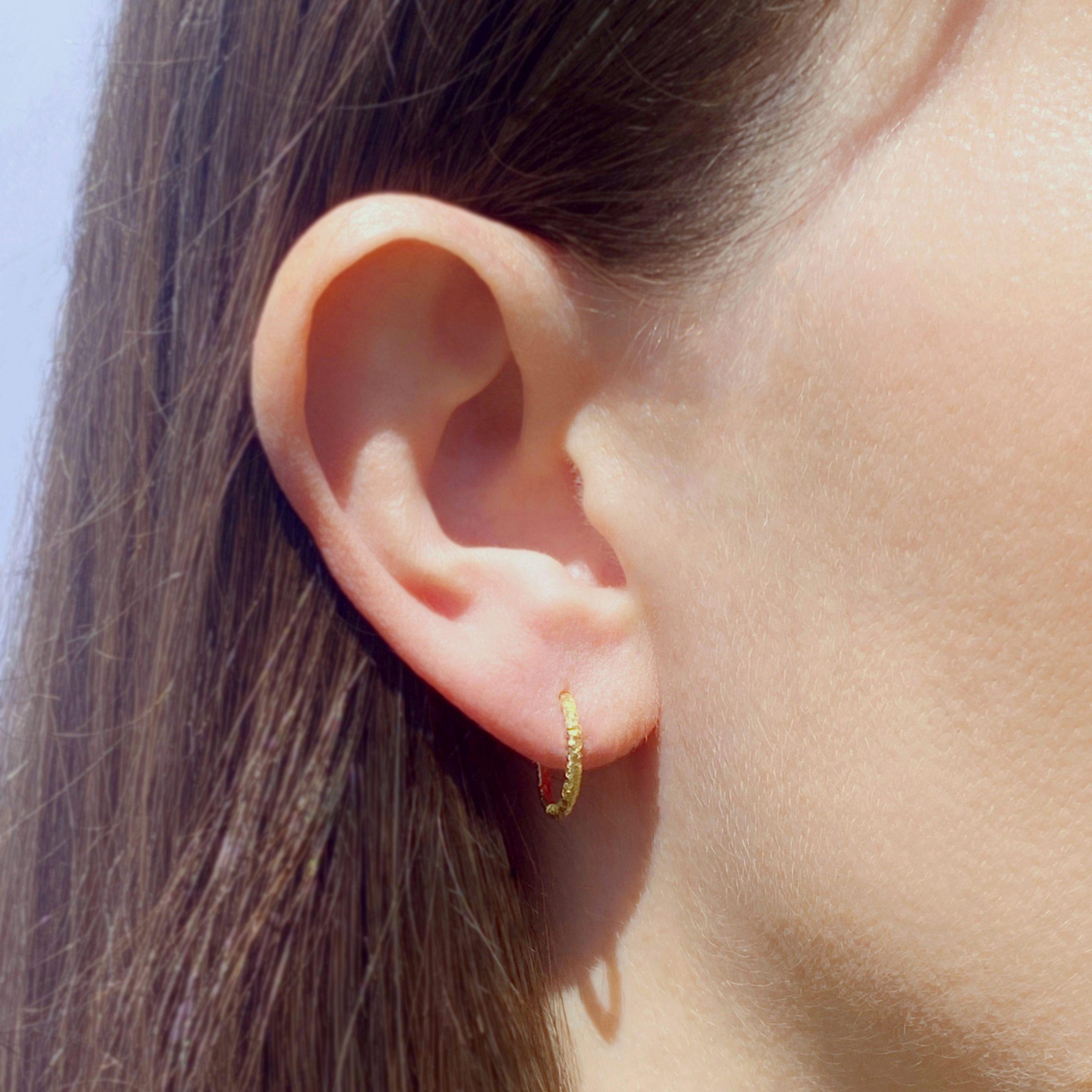 Gaia Textured 18ct Yellow Gold Hoop Earrings 10mm