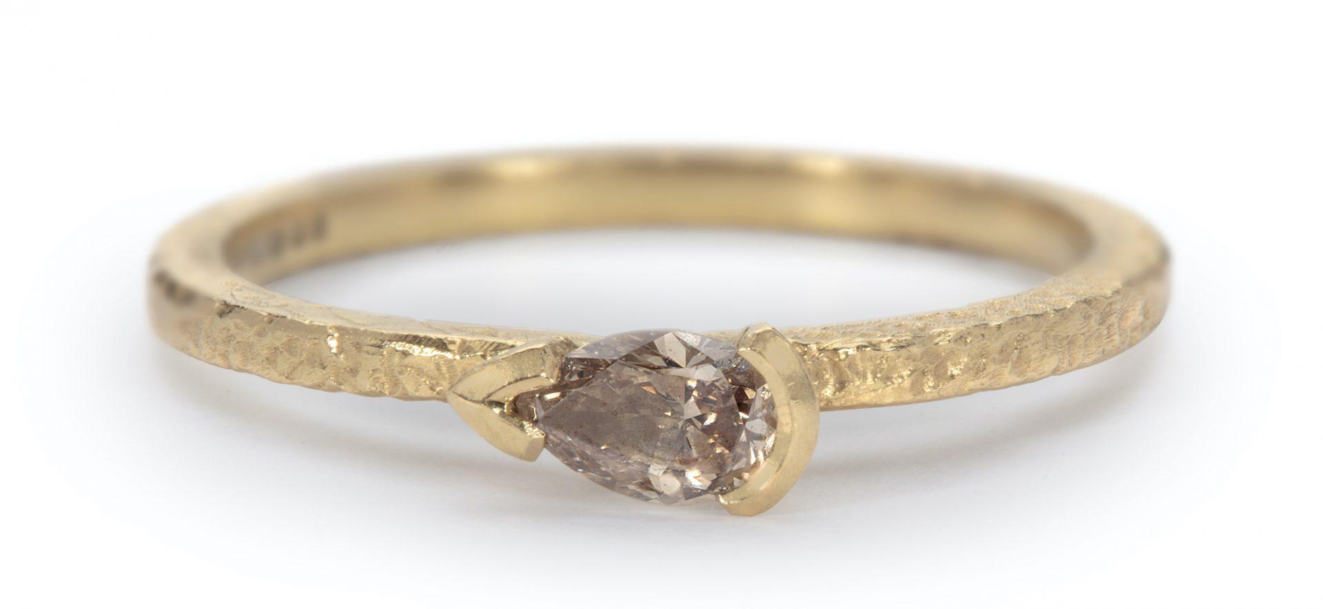 Side Set Pear Diamond Ring