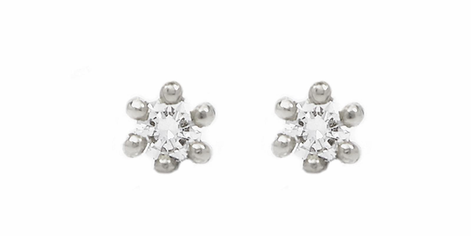 Spring Diamond Platinum Stud Earrings