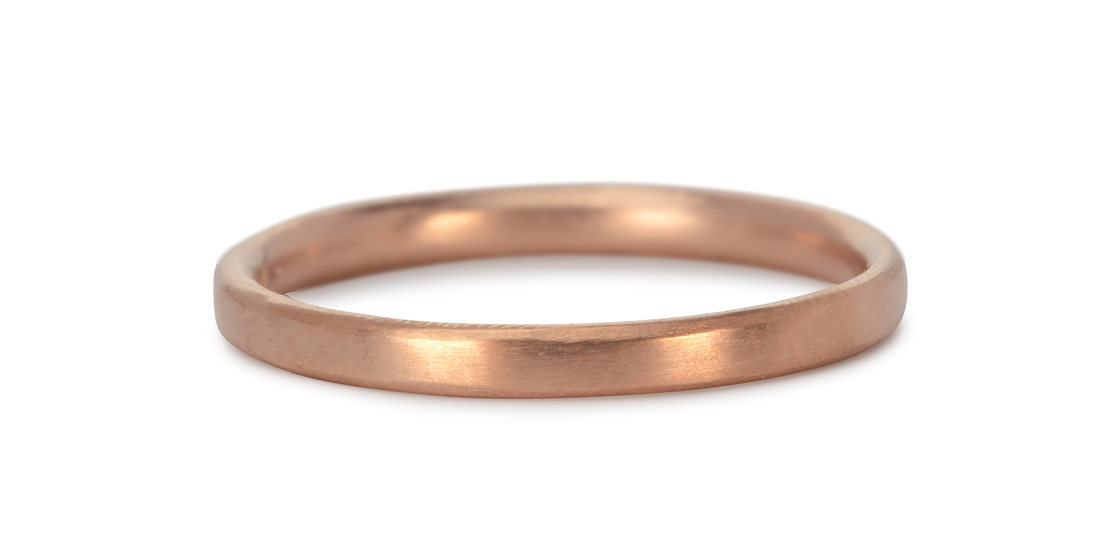 Comfort Fit 18ct Rose Gold Wedding Band 2mm