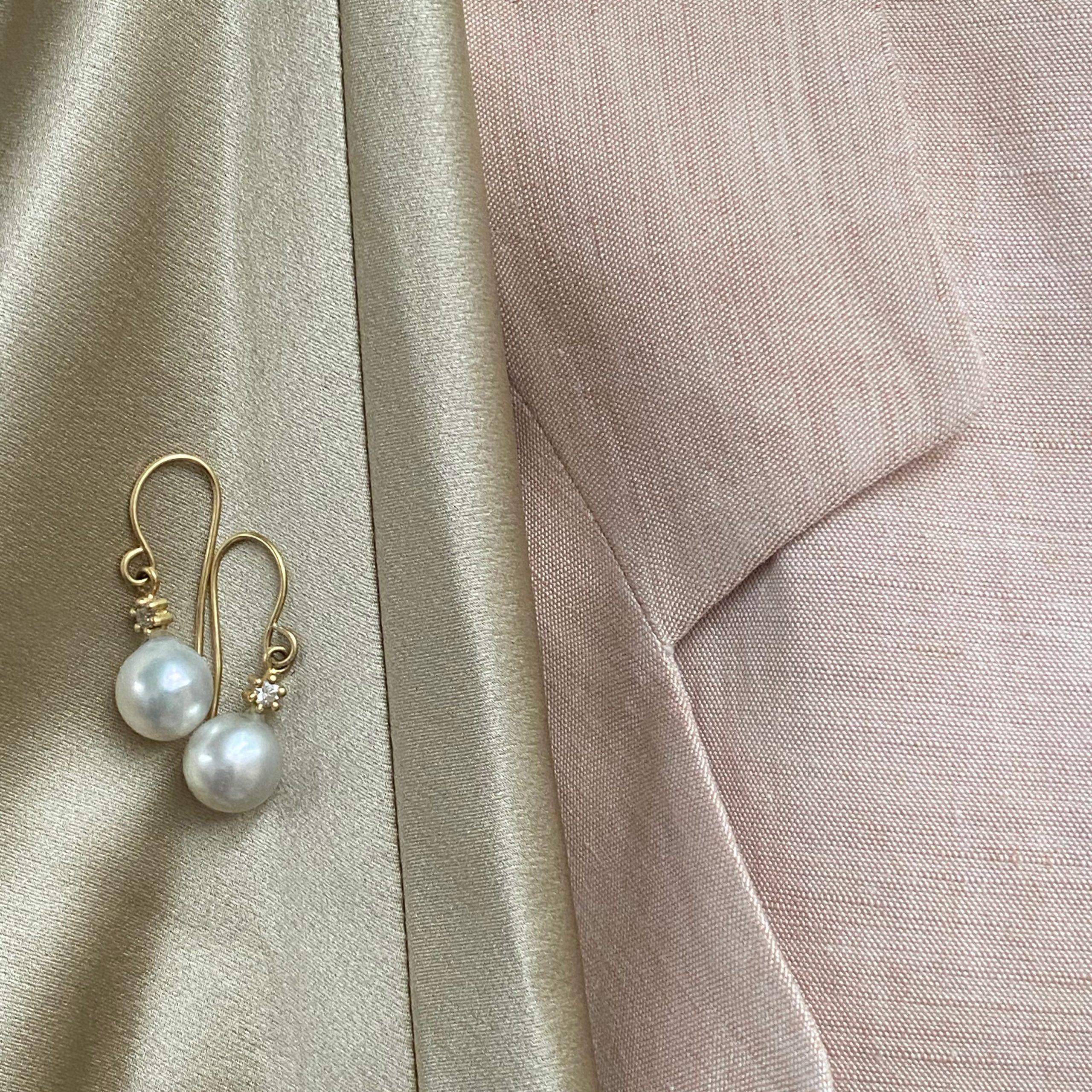 Dreamer Pearl and Diamond Drop Earrings