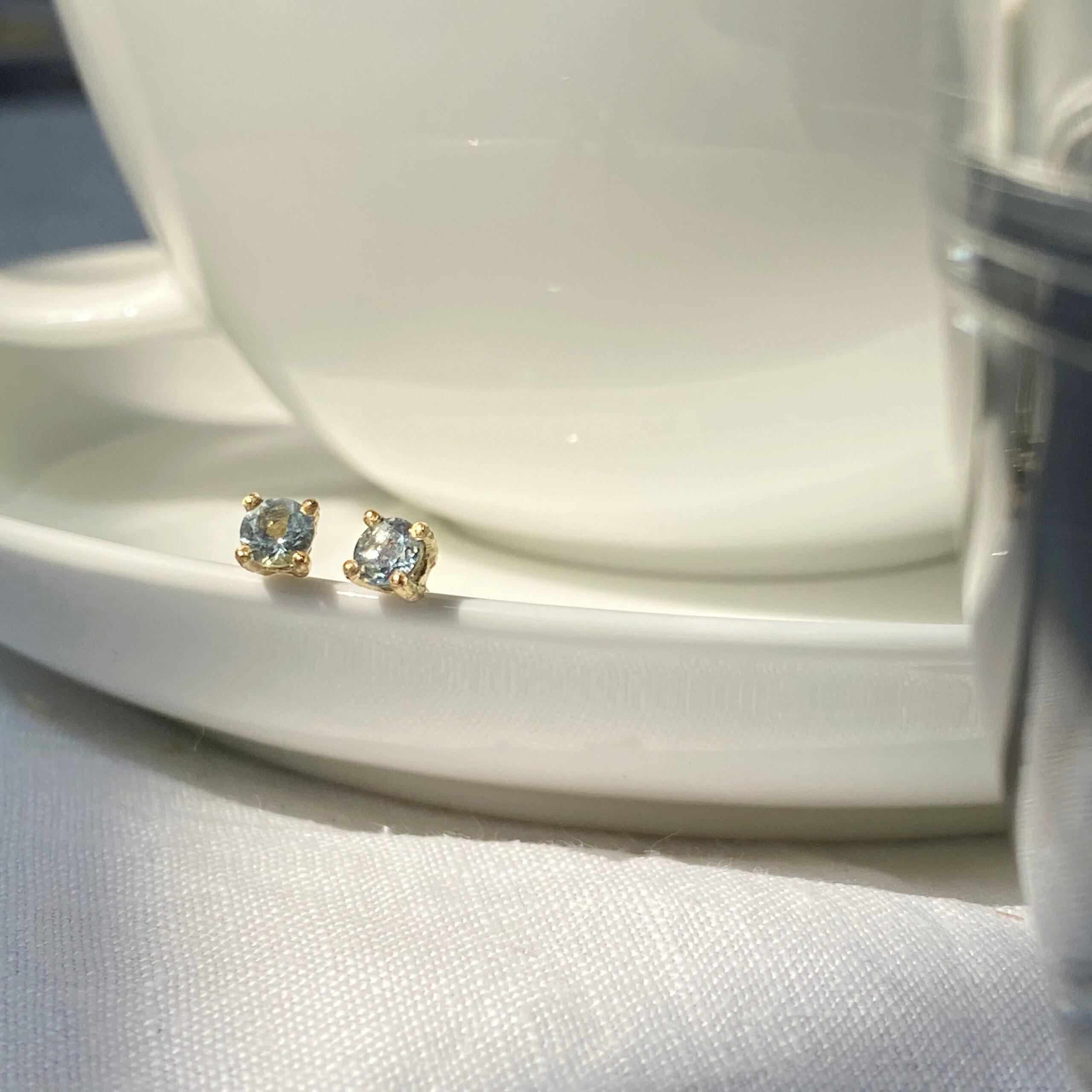 Summer Aquamarine & 18ct Gold Stud Earrings