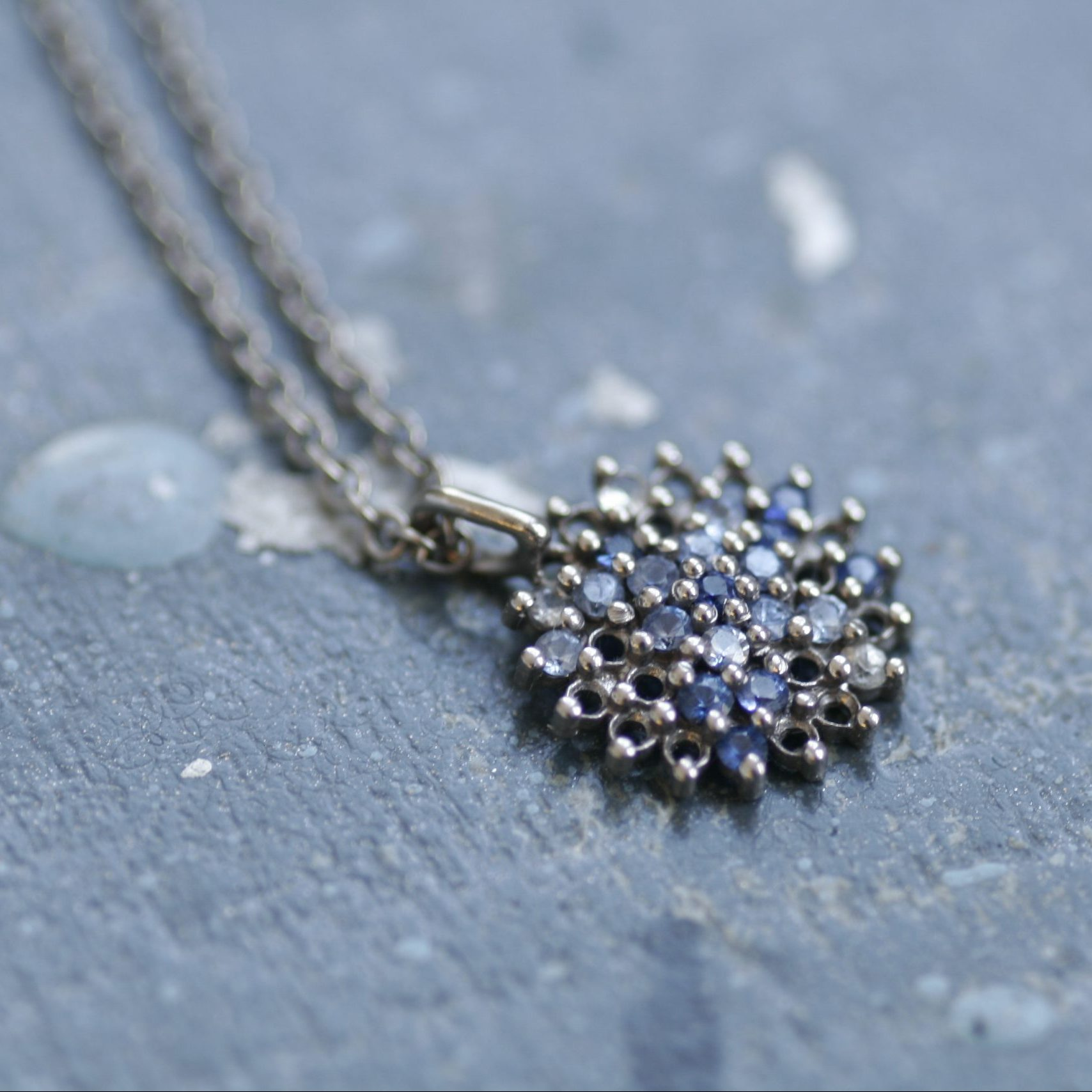 Autumn Sapphire and Diamond 18ct White Gold Pendant