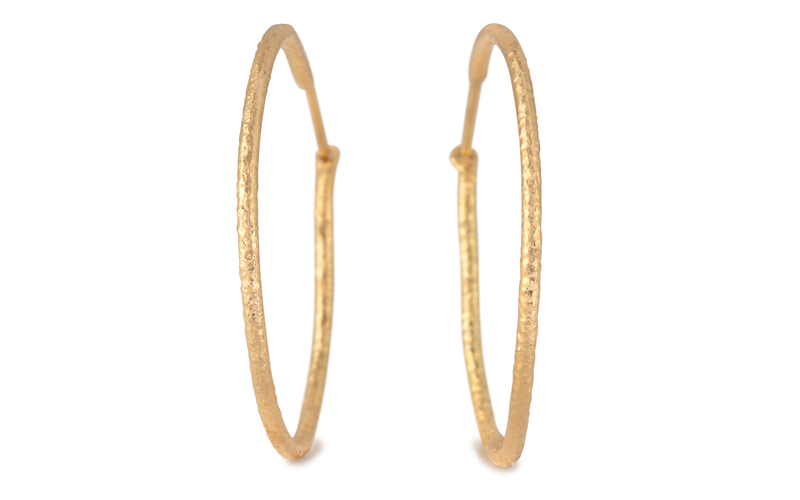 Gaia Textured 18ct Yellow Gold Hoop Earrings 30mm