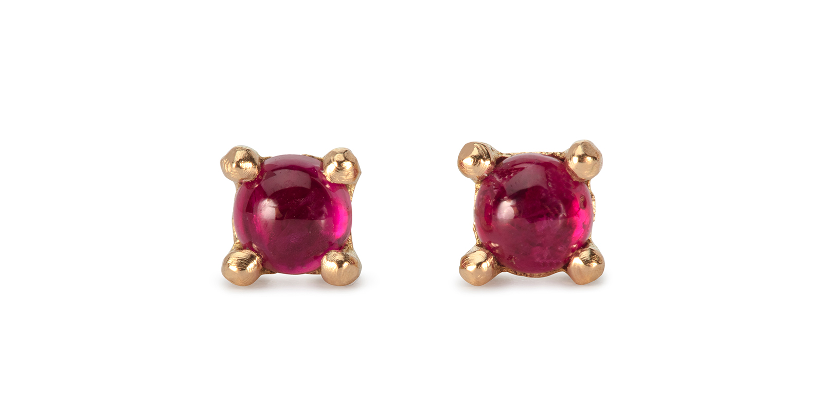 Summer Cabochon Ruby & 18ct Gold Stud Earrings