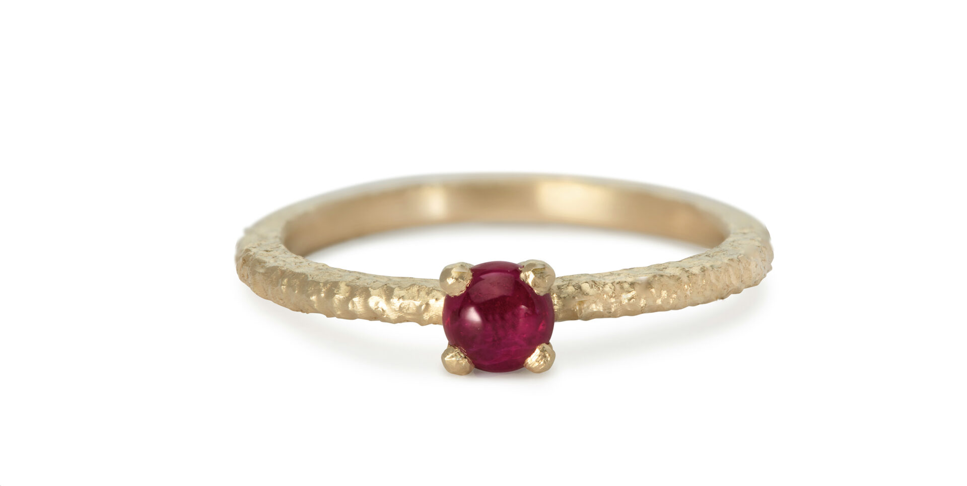Una Cabochon Ruby Solitaire Ring