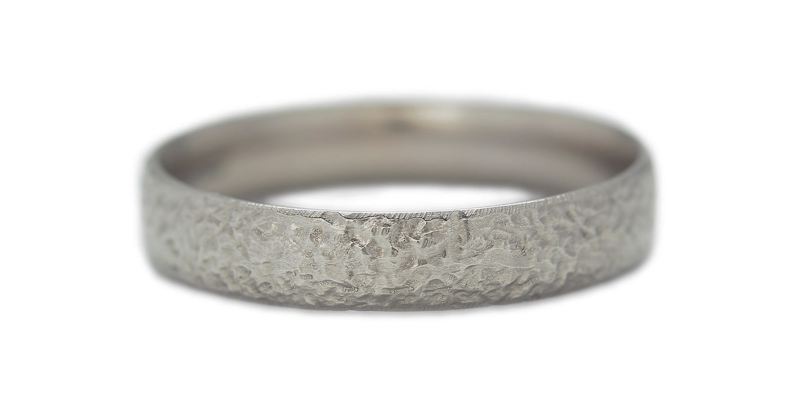 Textured 18ct White Gold Wedding Band 4mm