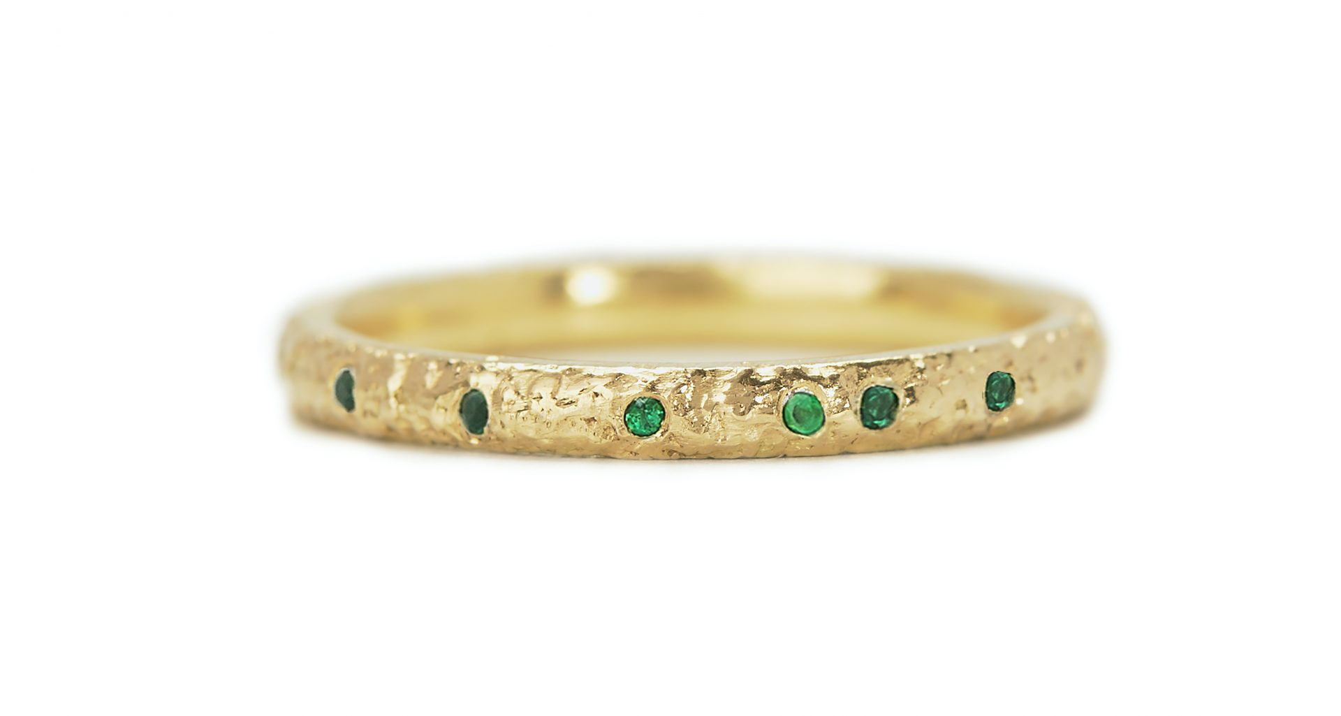 Textured Gold, Emerald Scattered Eternity Ring