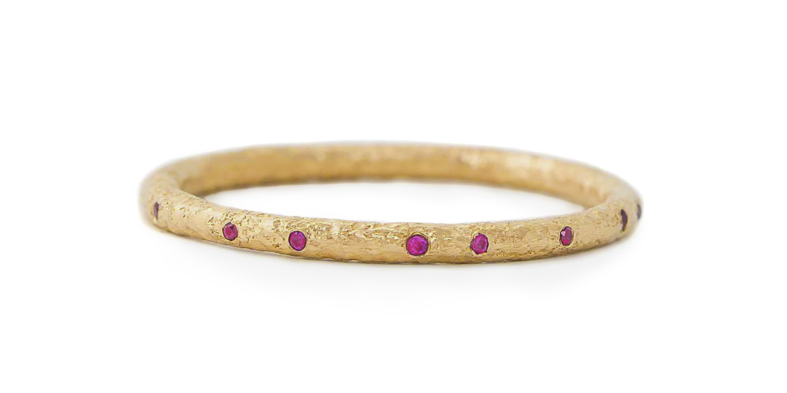 Ruby Scattered Gold Eternity Ring 1.5mm