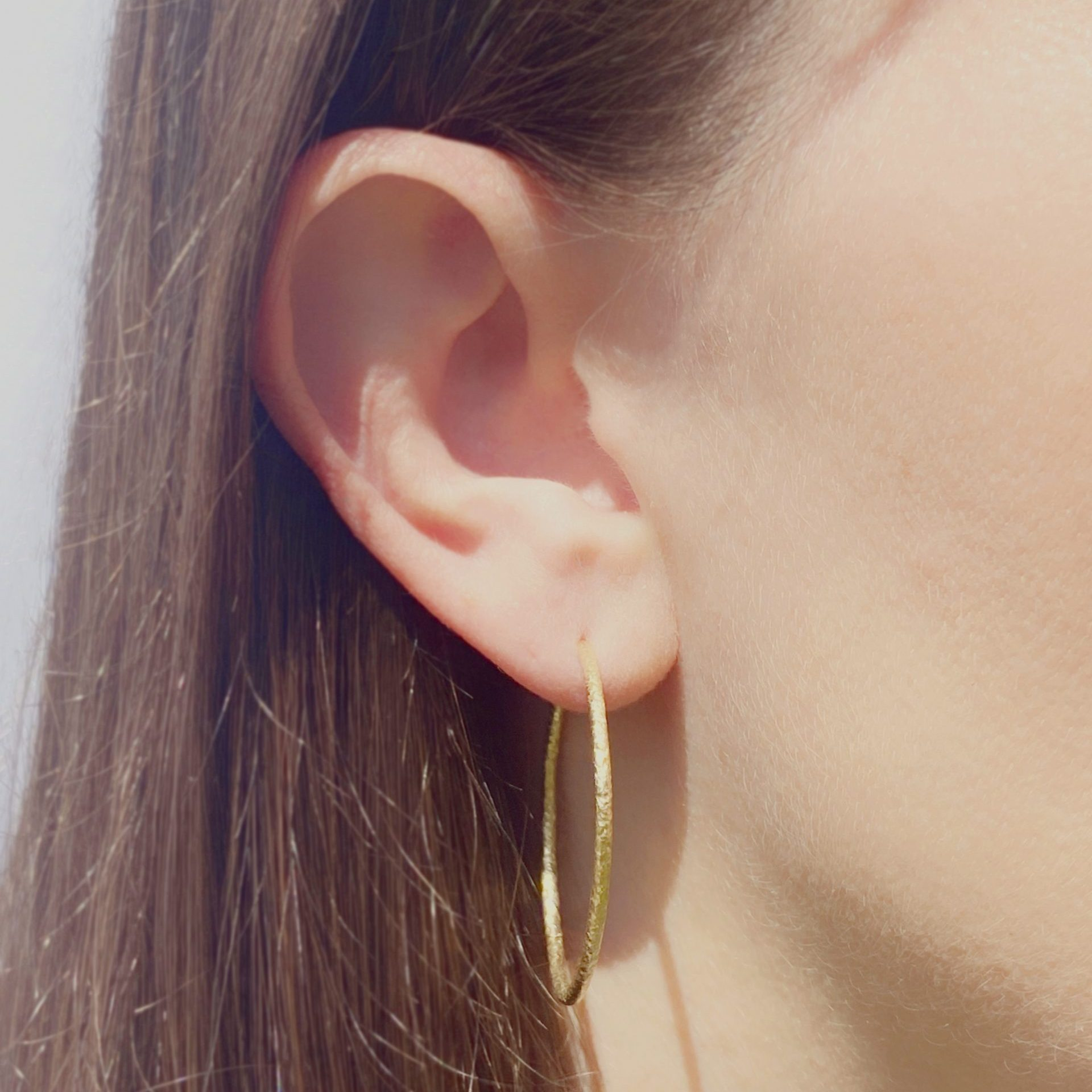 Gaia textured gold hoop earrings 30mm